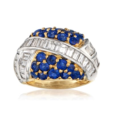 C. 1980 Vintage 3.16 ct. t.w. Sapphire and 2.68 ct. t.w. Diamond Ring in 18kt Yellow Gold