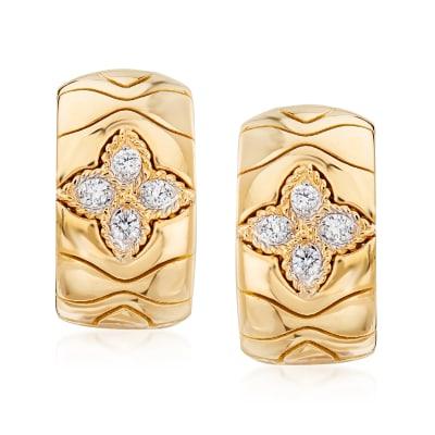 "Roberto Coin ""Princess Flower"" .20 ct. t.w. Diamond Hoop Earrings in 18kt Yellow Gold"