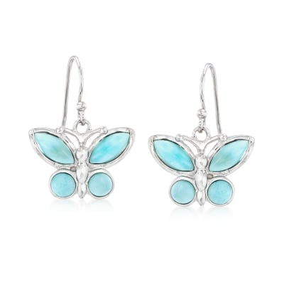Larimar Butterfly Drop Earrings in Sterling Silver