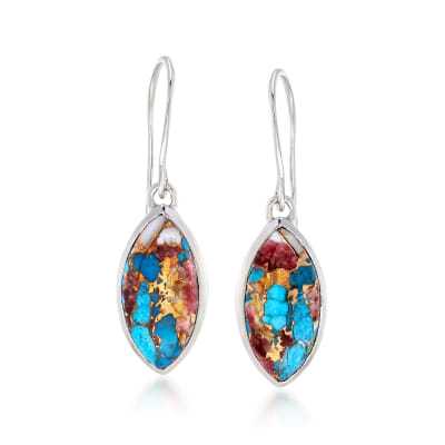 Marquise Kingman Turquoise Drop Earrings in Sterling Silver