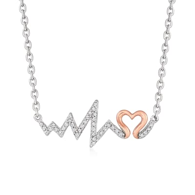 .12 ct. t.w. Diamond Heartbeat Necklace in Two-Tone Sterling Silver