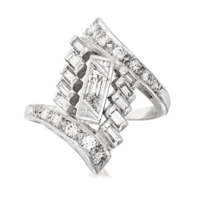 C. 1950 Vintage .85 ct. t.w. Diamond Geometric Ring in Platinum