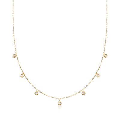 Italian .20 ct. t.w. Bezel-Set CZ Station Drop Necklace in 14kt Yellow Gold