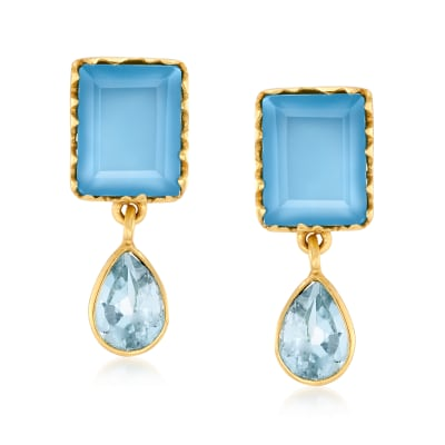 3.60 ct. t.w. Blue Quartz and 1.30 ct. t.w. Sky Blue Topaz Drop Earrings in 18kt Gold Over Sterling