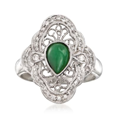 C. 1980 Vintage Jade and .33 ct. t.w. Diamond Ring in 18kt White Gold