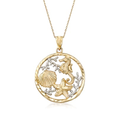14kt Two-Tone Gold Sealife Pendant Necklace
