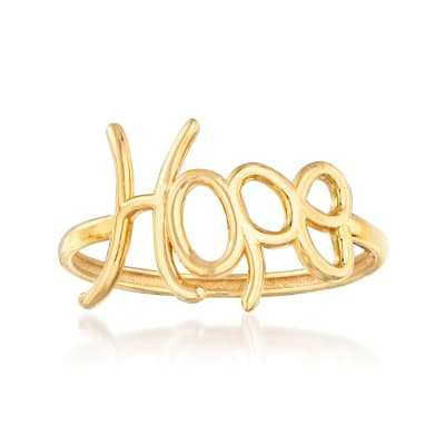 "Italian 14kt Yellow Gold ""Hope"" Ring"