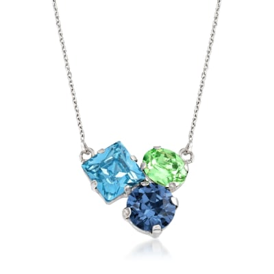 Italian Sterling Silver Necklace with Blue and Green Swarovski Crystals