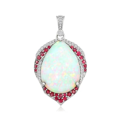 Opal and .70 ct. t.w. Ruby Pendant with .33 ct. t.w. Diamonds in 18kt White Gold