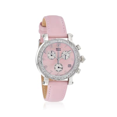 Saint James Women's 36mm Pink Mother-Of-Pearl Watch in Stainless Steel