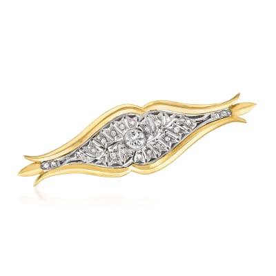 C. 1960 Vintage .80 ct. t.w. Diamond Pin in Platinum and 18kt Yellow Gold