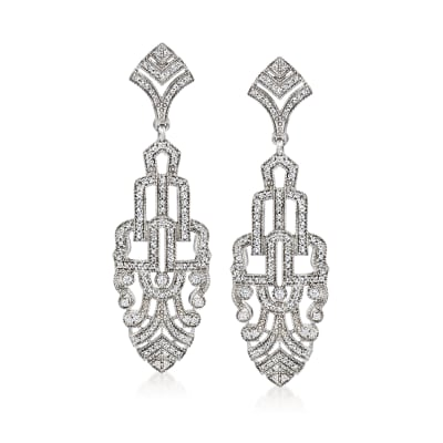 1.00 ct. t.w. Diamond Art Deco-Style Drop Earrings in Sterling Silver