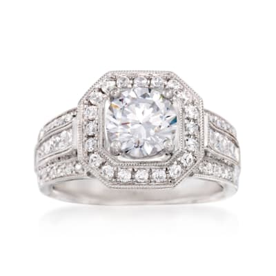 Simon G. 1.00 ct. t.w. Diamond Halo Engagement Ring Setting in 18kt White Gold