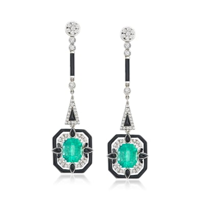 2.30 ct. t.w. Emerald and .36 ct. t.w. Diamond Drop Earrings with Black Agate in 18kt White Gold