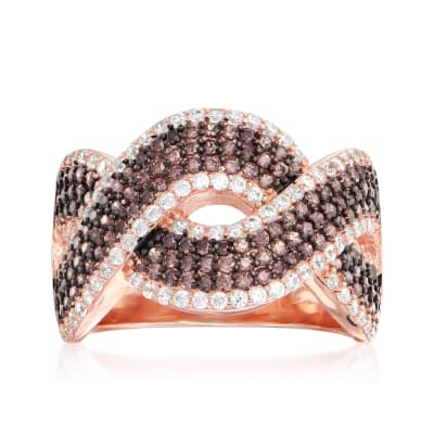 1.80 ct. t.w. Brown and White CZ Crisscross Ring in 18kt Rose Gold Over Sterling