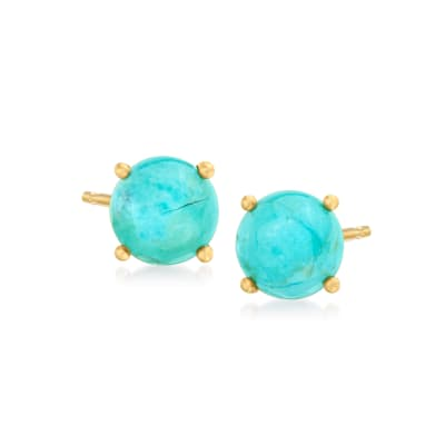 Turquoise Stud Earrings in 18kt Gold Over Sterling