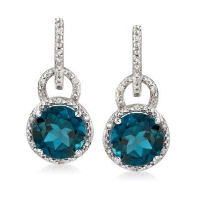 6.60 ct. t.w. London Blue Topaz and .11 ct. t.w. Diamond Drop Earrings in Sterling Silver