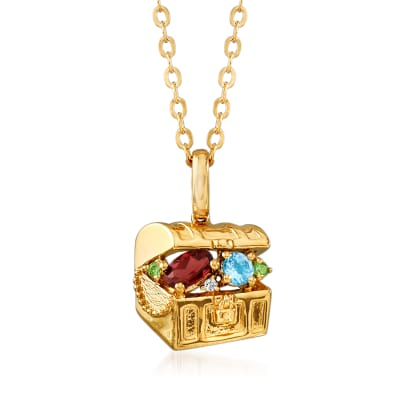 .45 ct. t.w. Multi-Gemstone Treasure Chest Pendant Necklace in 18kt Gold Over Sterling