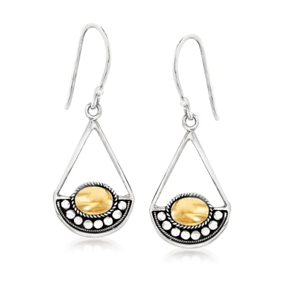 Sterling Silver Open-Space Teardrop Earrings with 18kt Yellow Gold