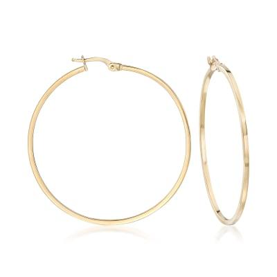Italian 1.5mm 18kt Yellow Gold Squared Hoop Earrings