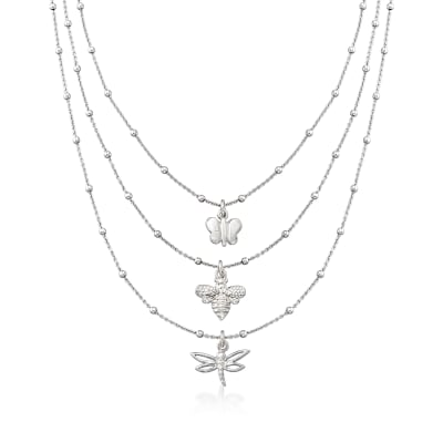 Italian Butterfly, Bee and Dragonfly Three-Strand Layered Necklace in Sterling Silver