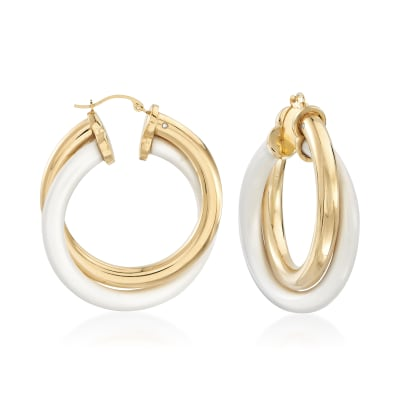 White Agate and 14kt Yellow Gold Over Resin Hoop Earrings