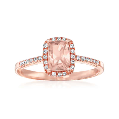 .80 Carat Morganite Ring with .11 ct. t.w. Diamonds in 14kt Rose Gold