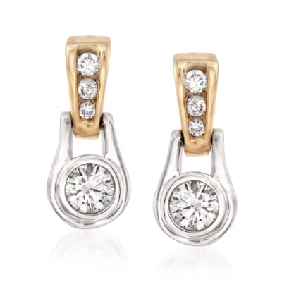 .60 ct. t.w. Diamond Drop Earrings in 14kt Two-Tone Gold