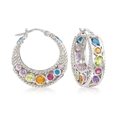 6.70 ct. t.w. Multi-Stone Hoop Earrings in Sterling Silver