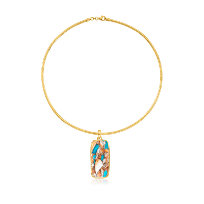 Kingman Turquoise Necklace in 18kt Gold Over Sterling