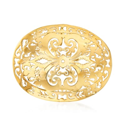 Italian 14kt Yellow Gold Oval Filigree Slide Pendant