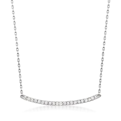 .25 ct. t.w. Diamond Curved Bar Necklace in 14kt White Gold