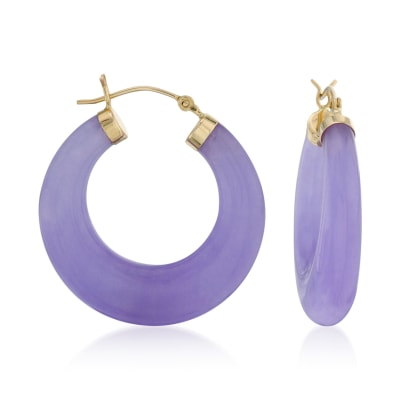Lavender Jade Hoop Earrings with 14kt Yellow Gold