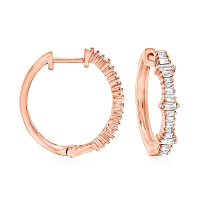 .30 ct. t.w. Diamond Baguette Hoop Earrings in 14kt Rose Gold