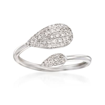 Gabriel Designs .26 ct. t.w. Diamond Bypass Ring in 14kt White Gold