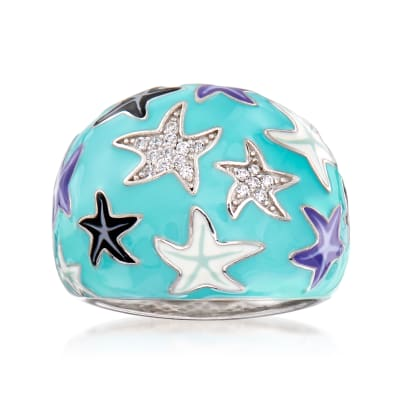 .10 ct. t.w. White Topaz and Multicolored Enamel Starfish Ring in Sterling Silver