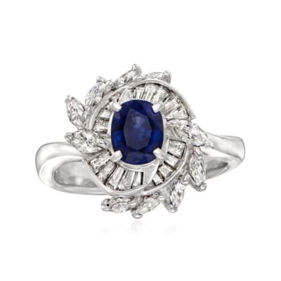 C. 1980 Vintage .94 Carat Sapphire and .86 ct. t.w. Diamond Ring in Platinum