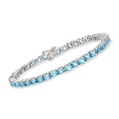 7.90 ct. t.w. Swiss Blue Topaz Tennis Bracelet in Sterling Silver