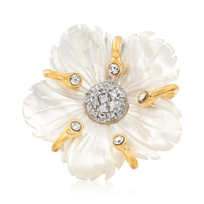 Italian Mother-Of-Pearl and .30 ct. t.w. CZ Flower Ring in 18kt Gold Over Sterling