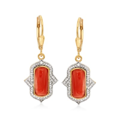 Red Coral and .35 ct. t.w. Diamond Drop Earrings in 18kt Gold Over Sterling