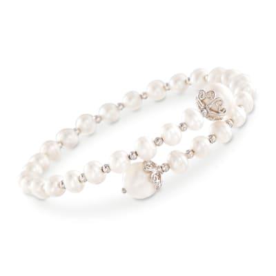 4-9mm Cultured Pearl Wrap Bracelet in Sterling Silver