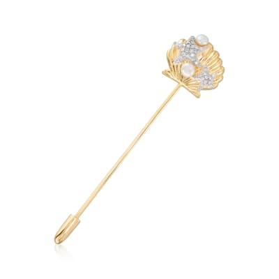 3.5-4mm Cultured Pearl and .10 ct. t.w. Diamond Seashell Stick Pin in 18kt Gold Over Sterling