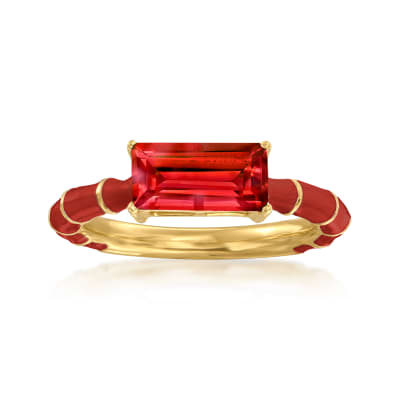 1.70 ct. t.w. Garnet and Red Enamel Ring in 18kt Gold Over Sterling