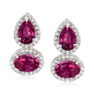 3.90 ct. t.w. Rhodolite Garnet and .30 ct. t.w. White Zircon Drop Earrings in Sterling Silver