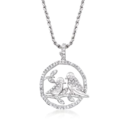 .50 ct. t.w. Diamond Birds on a Branch Pendant Necklace in Sterling Silver
