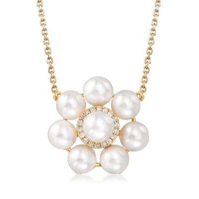 5.5-6mm Cultured Pearl Floral Necklace with Diamond Accents in 14kt Yellow Gold