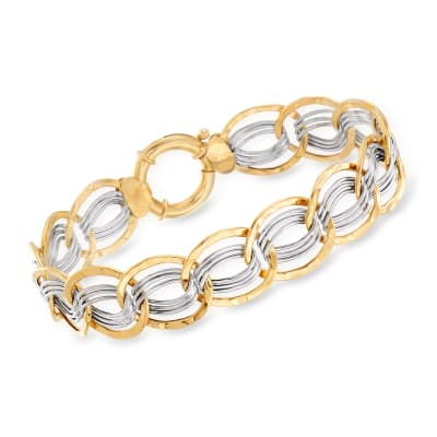 14kt Two-Tone Gold Interlocking Oval Link Bracelet