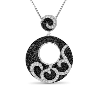 1.00 ct. t.w. Black and White Diamond Swirl Pendant Necklace in Sterling Silver