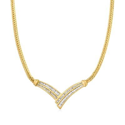 C. 1980 Vintage 1.50 ct. t.w. Baguette and Round Diamond V-Necklace in 14kt Yellow Gold