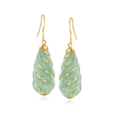 Jade Drop Earrings in 14kt Yellow Gold